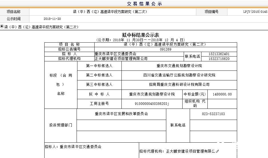 梁(平)西(沱)高速梁平段方案研究(第二次)  拟中标结果公示表