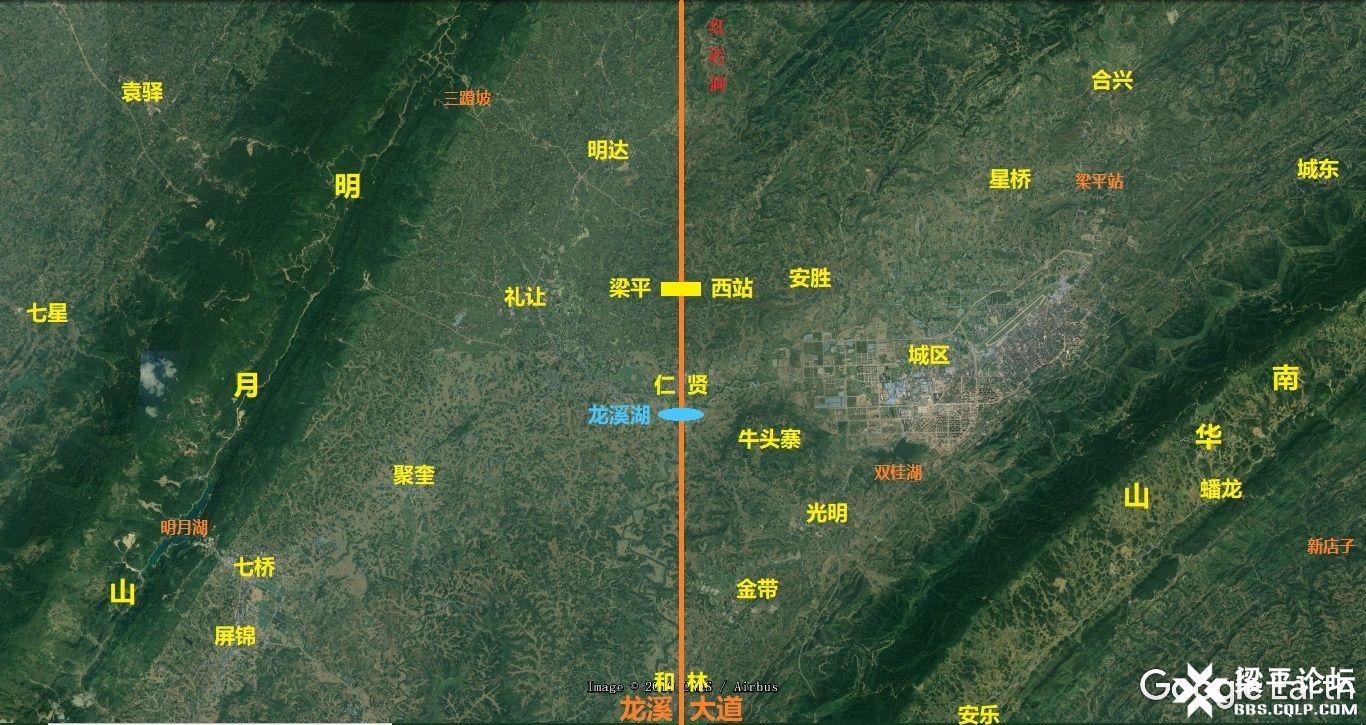 梁平区龙溪大道、龙溪湖及梁平西站位置示意图 1